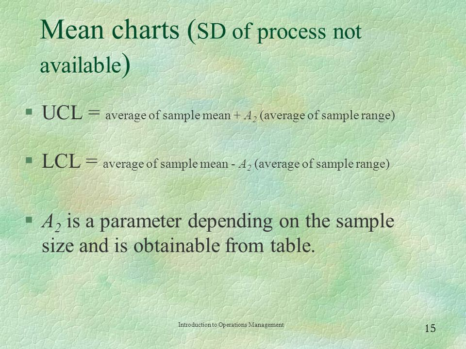 Mean charts (SD of process not available)