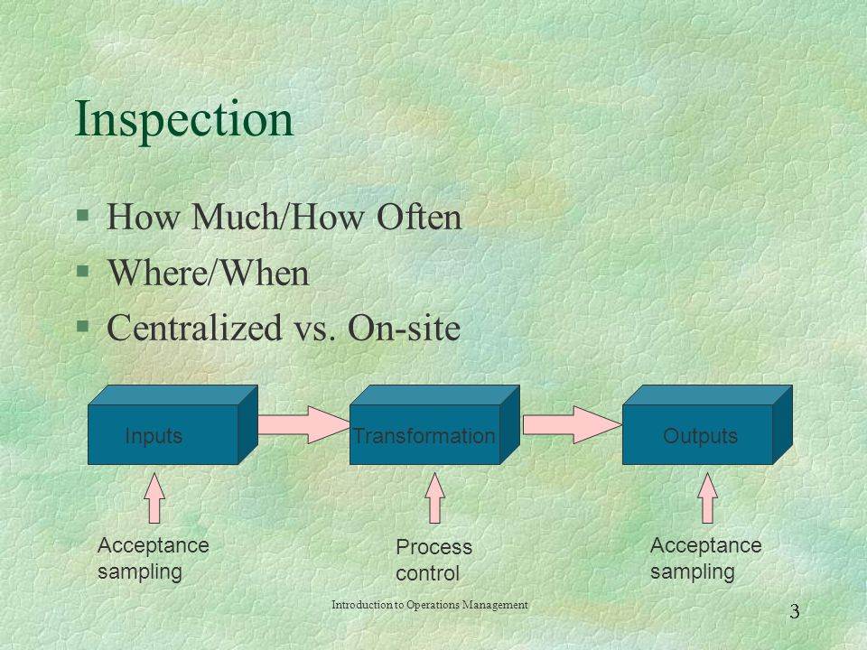 Inspection How Much/How Often Where/When Centralized vs. On-site