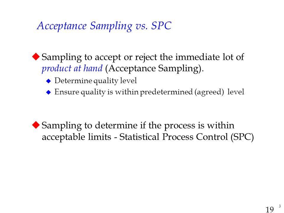 Acceptance Sampling vs. SPC