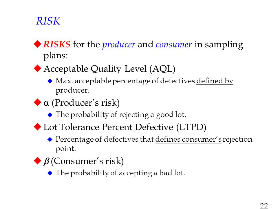 RISK RISKS for the producer and consumer in sampling plans: