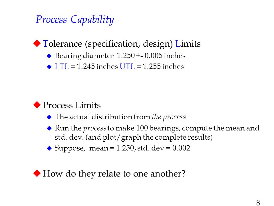 Process Capability Tolerance (specification, design) Limits