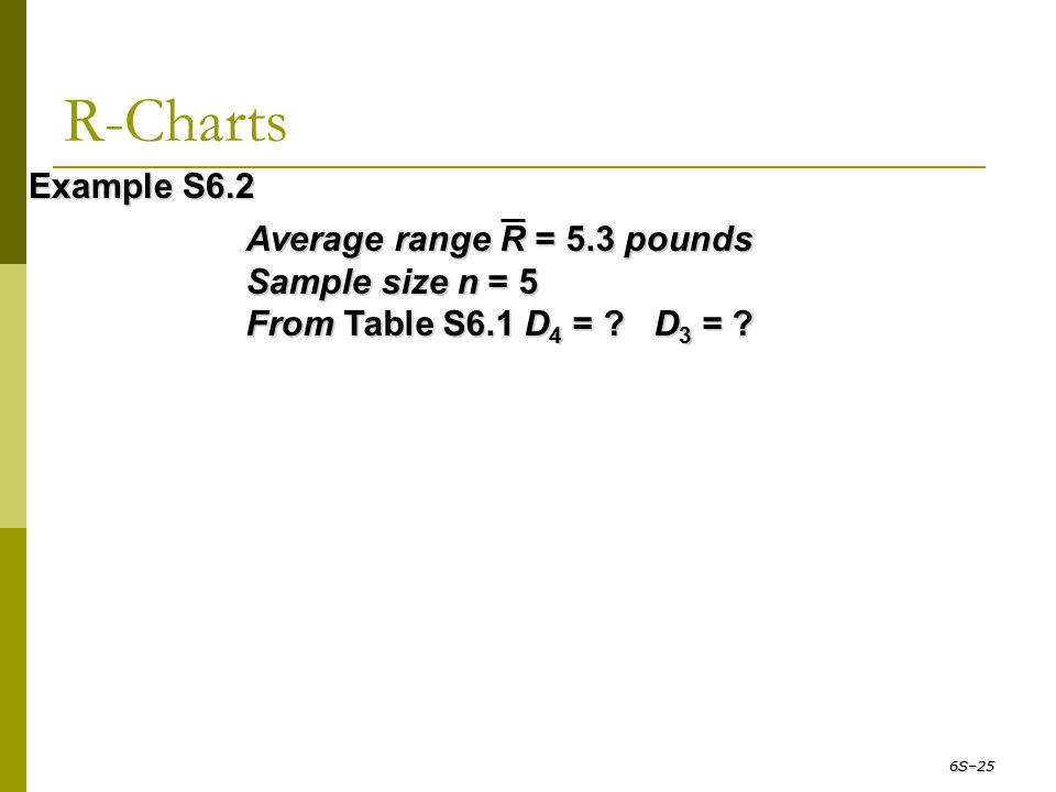R-Charts Example S6.2 Average range R = 5.3 pounds Sample size n = 5