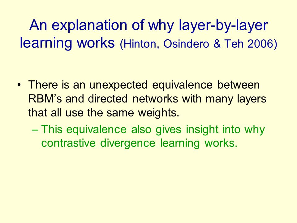 An explanation of why layer-by-layer learning works (Hinton, Osindero & Teh 2006)