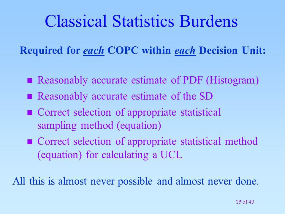 Classical Statistics Burdens