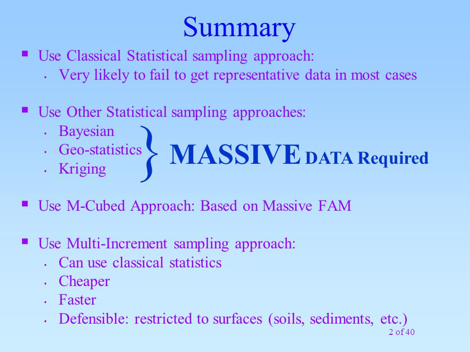  Summary MASSIVE DATA Required