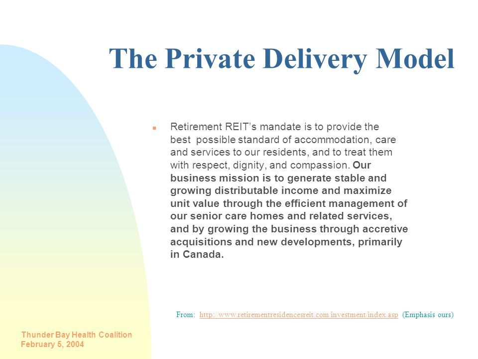 The Private Delivery Model