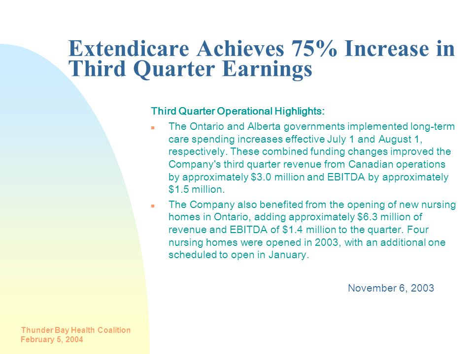 Extendicare Achieves 75% Increase in Third Quarter Earnings