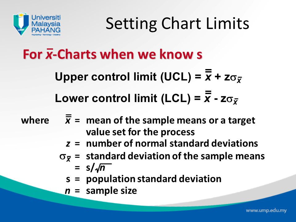Setting Chart Limits For x-Charts when we know s