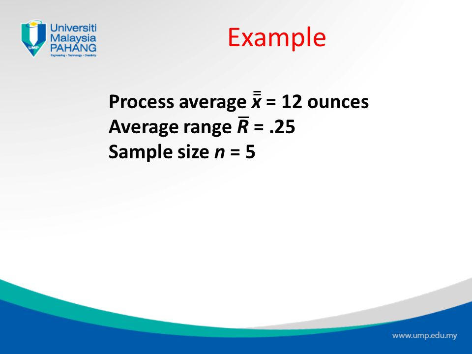 Example Process average x = 12 ounces Average range R = .25