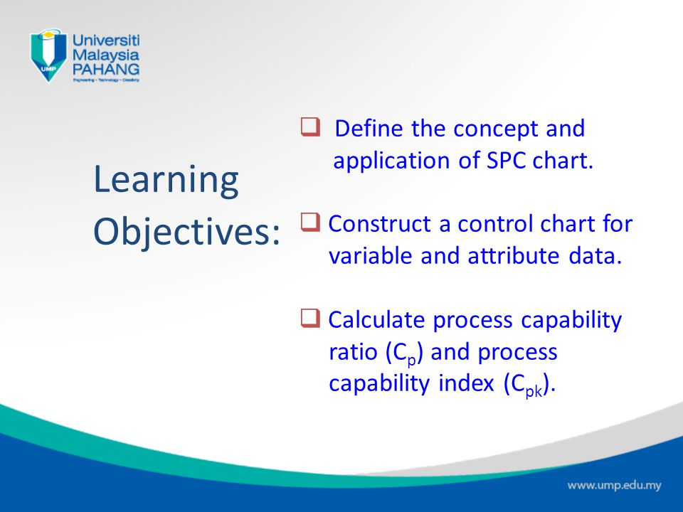 Learning Objectives: Define the concept and application of SPC chart.