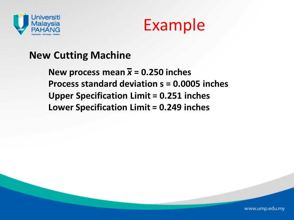 Example New Cutting Machine New process mean x = 0.250 inches