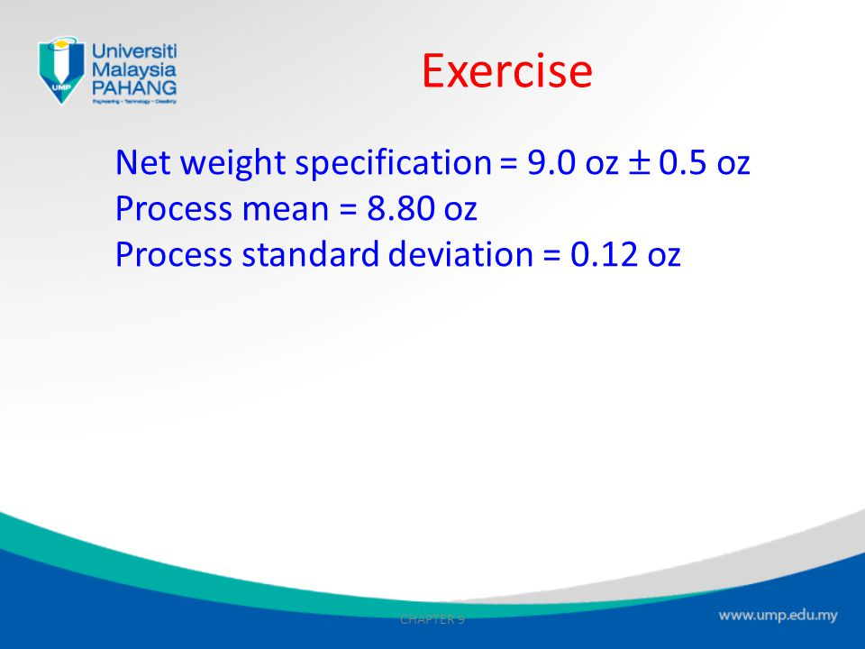 Exercise Net weight specification = 9.0 oz  0.5 oz