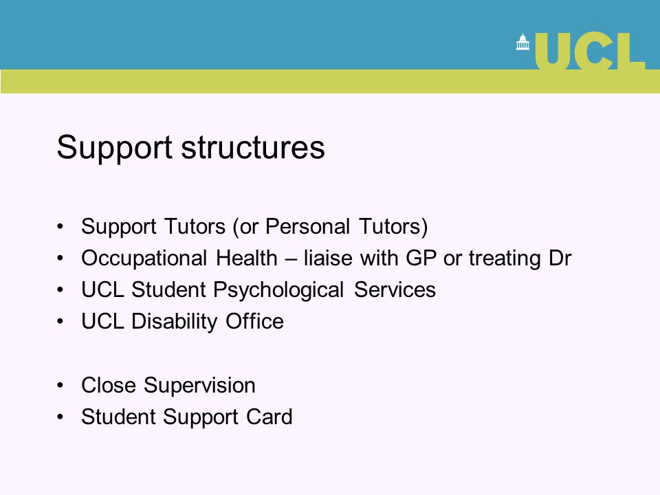 Support structures Support Tutors (or Personal Tutors)