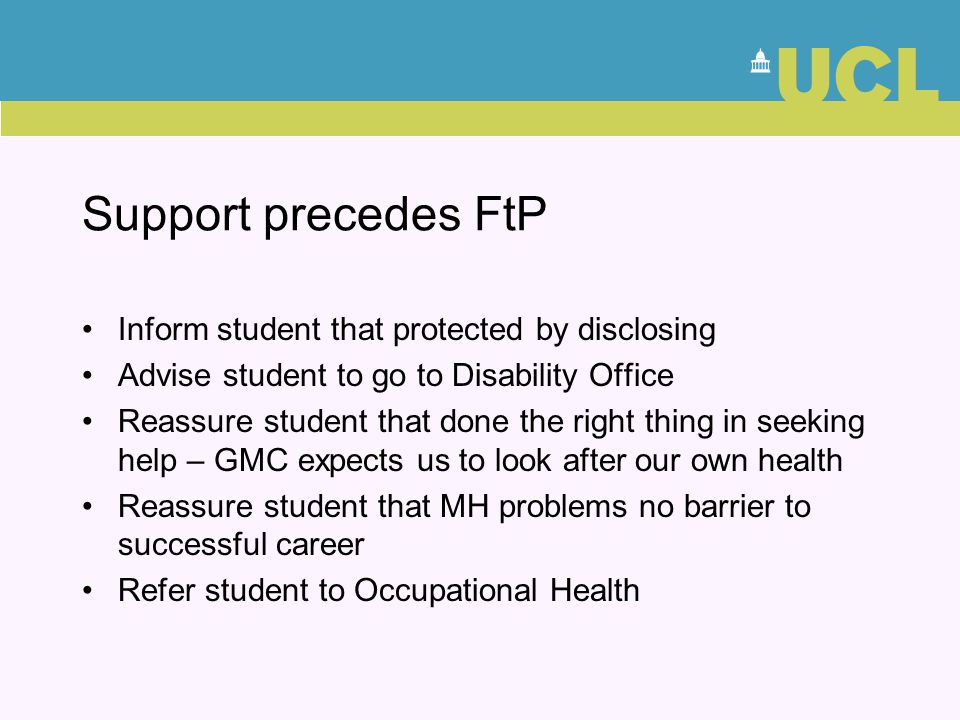 Support precedes FtP Inform student that protected by disclosing