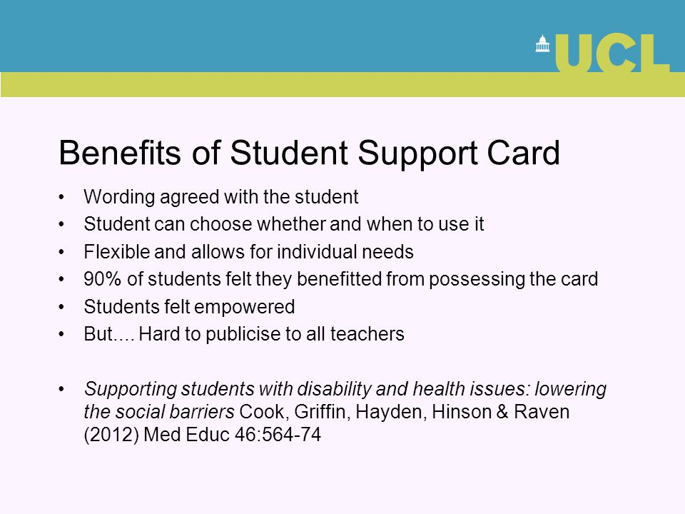 Benefits of Student Support Card