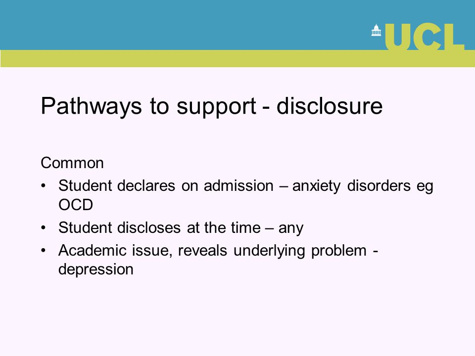 Pathways to support - disclosure