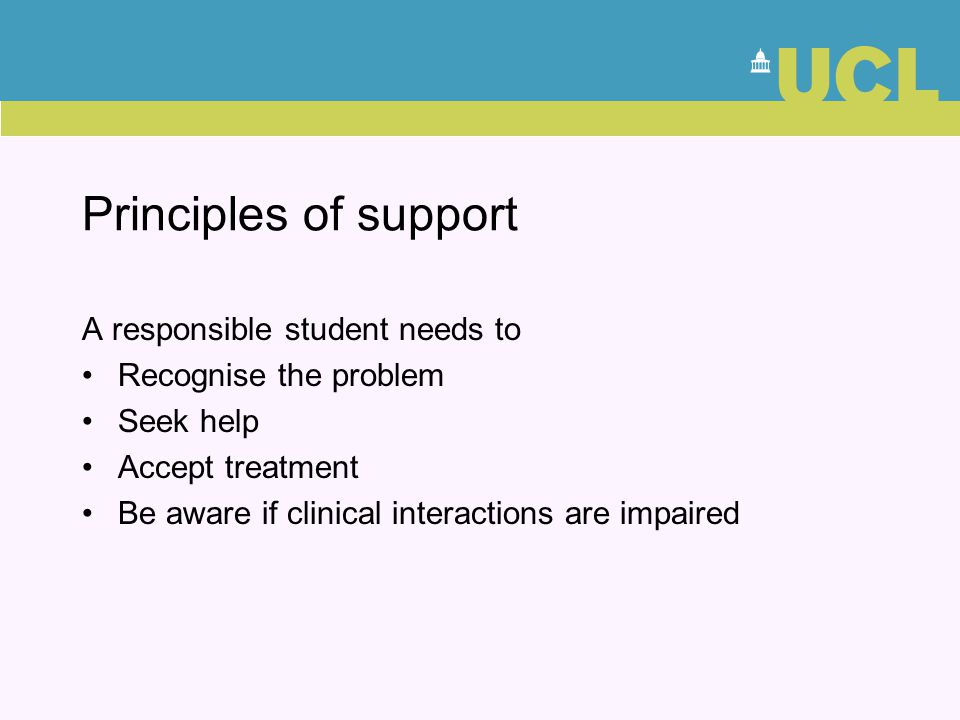 Principles of support A responsible student needs to