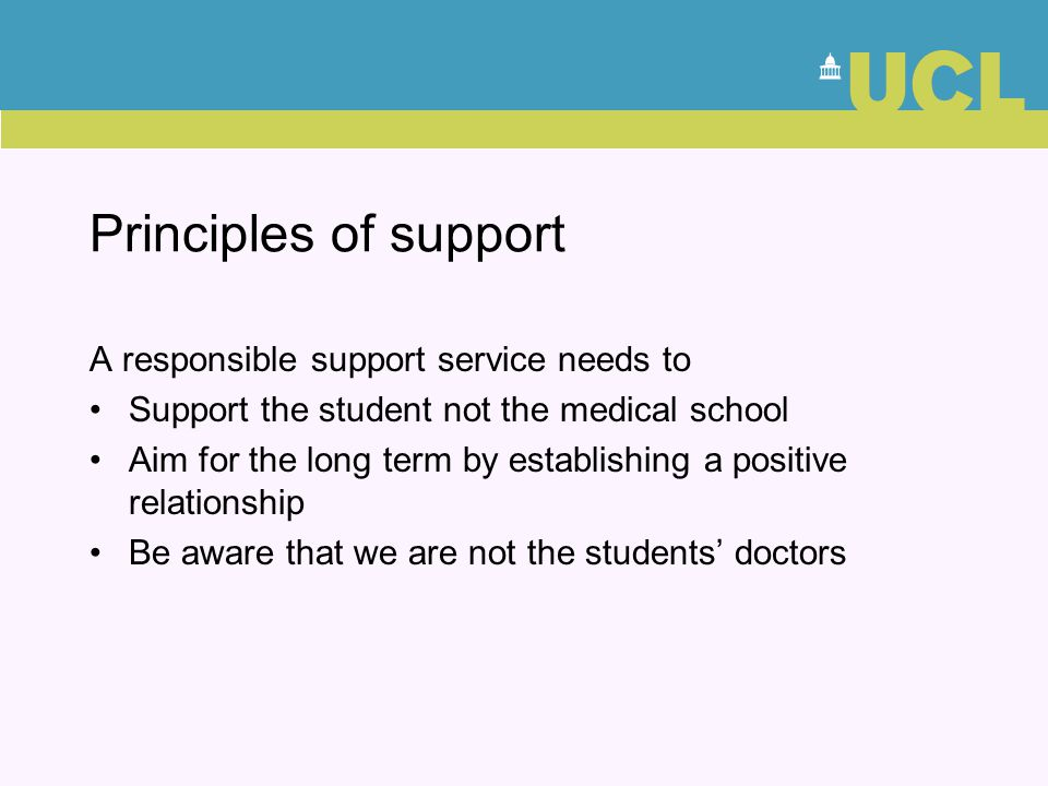 Principles of support A responsible support service needs to