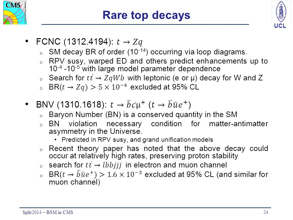 Rare top decays FCNC (1312.4194): 𝑡→𝑍𝑞