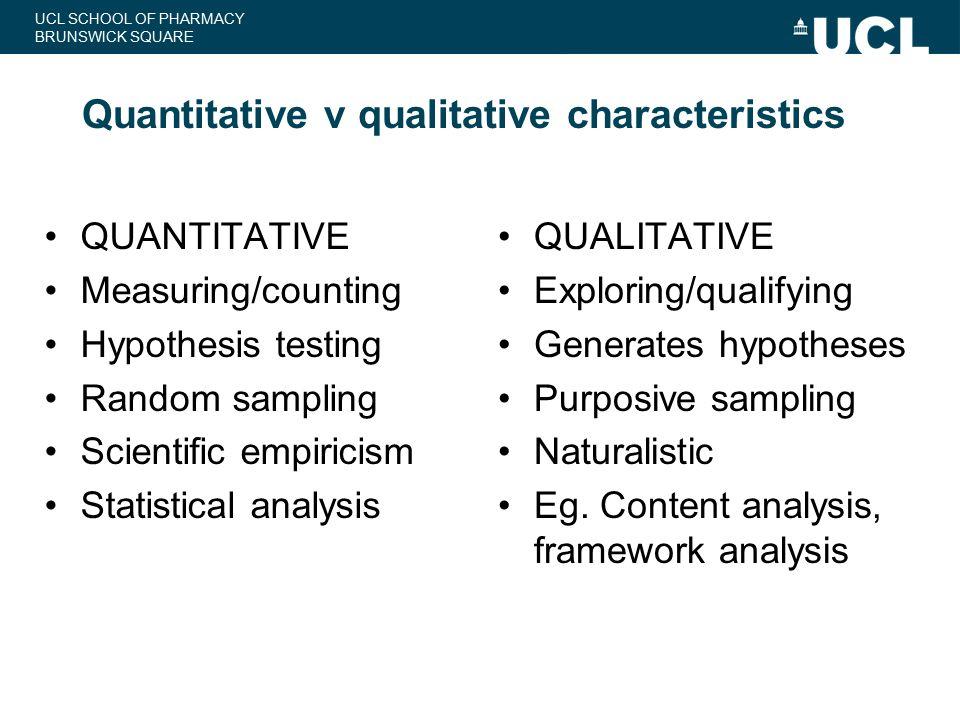 Quantitative v qualitative characteristics