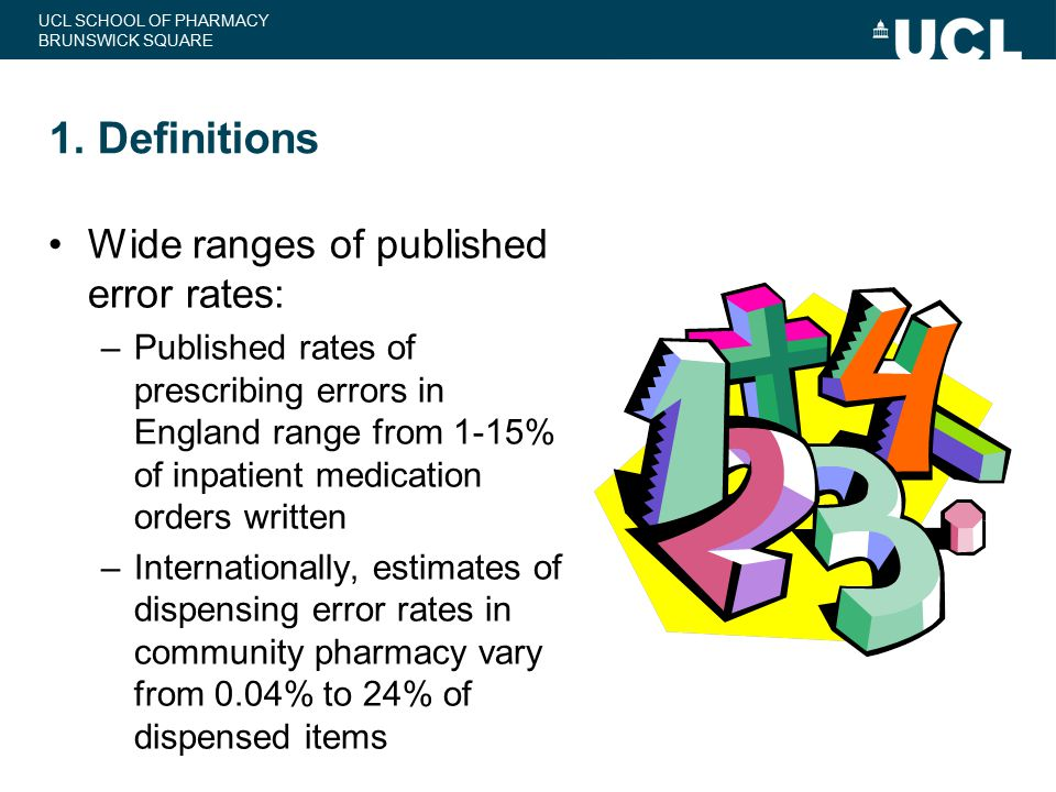 1. Definitions Wide ranges of published error rates: