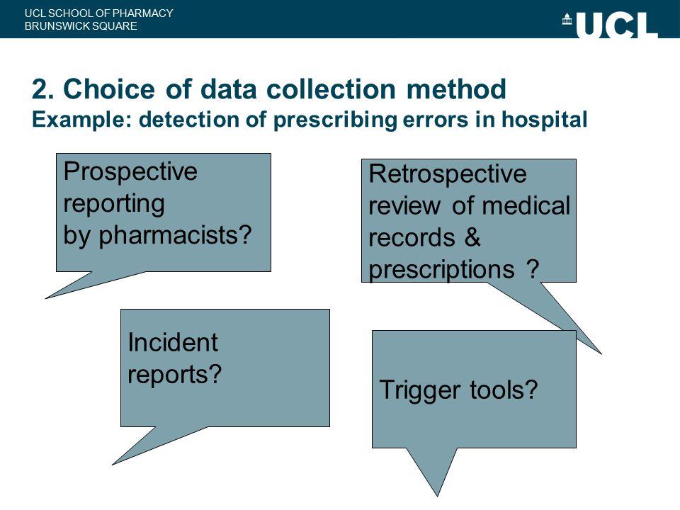 2. Choice of data collection method Example: detection of prescribing errors in hospital