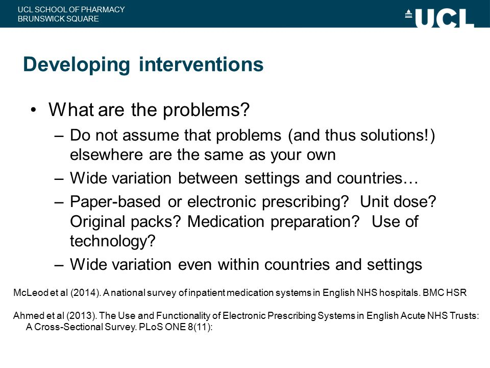 Developing interventions