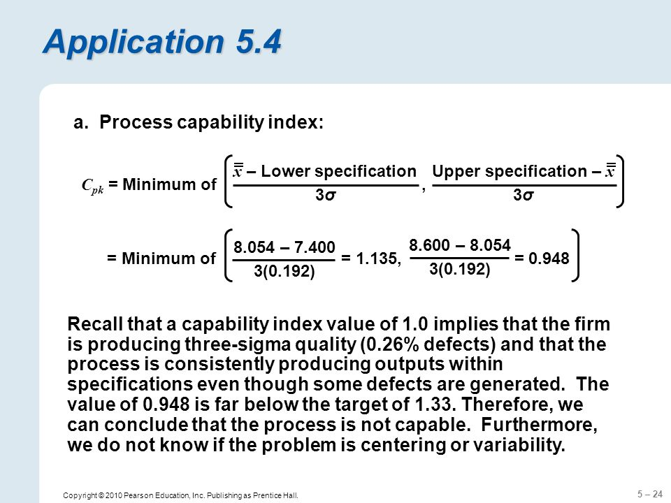 x – Lower specification Upper specification – x