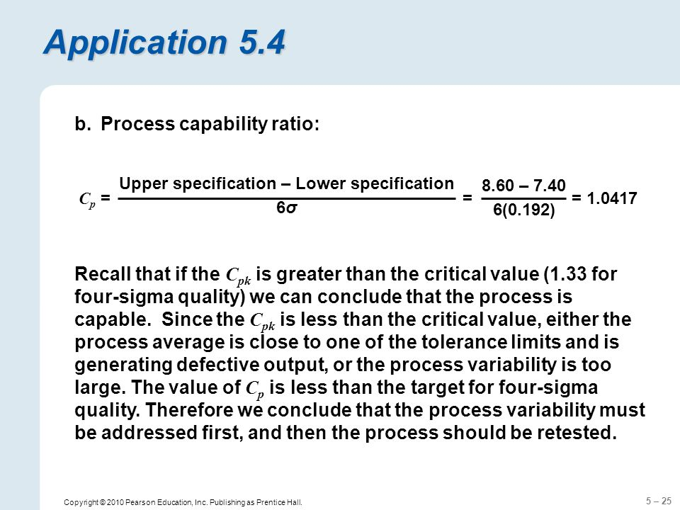Upper specification – Lower specification