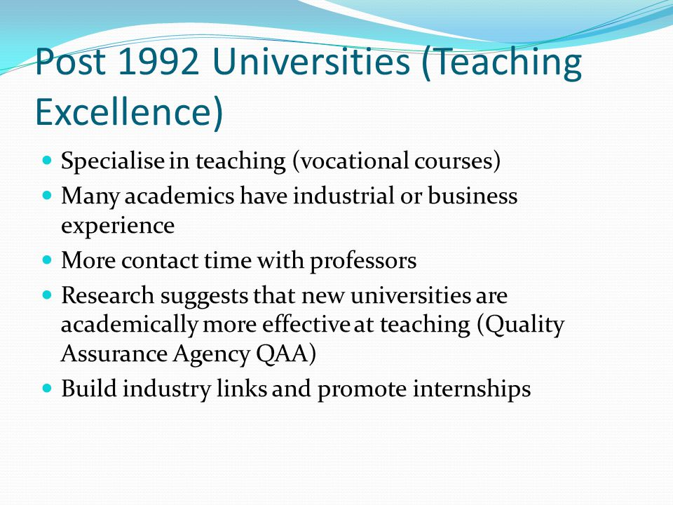 Post 1992 Universities (Teaching Excellence)