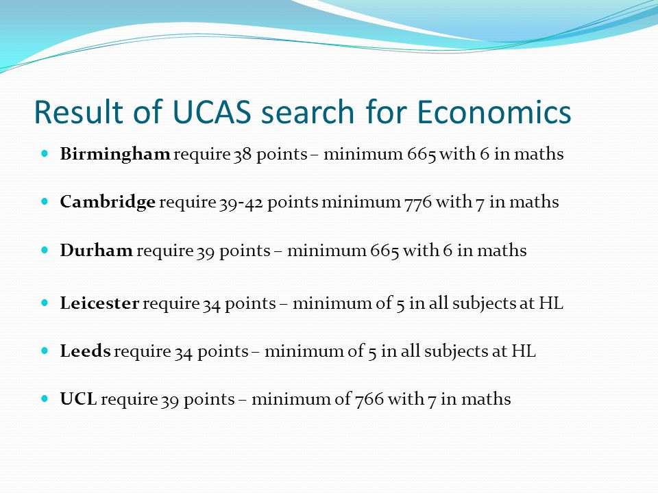 Result of UCAS search for Economics
