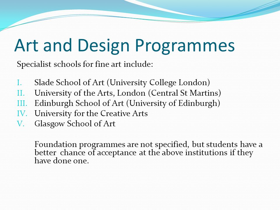 Art and Design Programmes