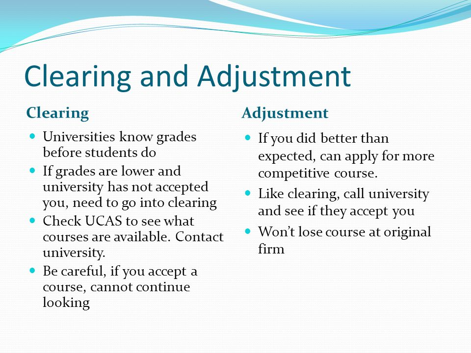 Clearing and Adjustment
