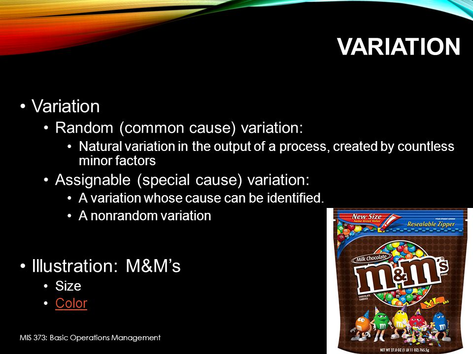 Variation Variation Illustration: M&M's