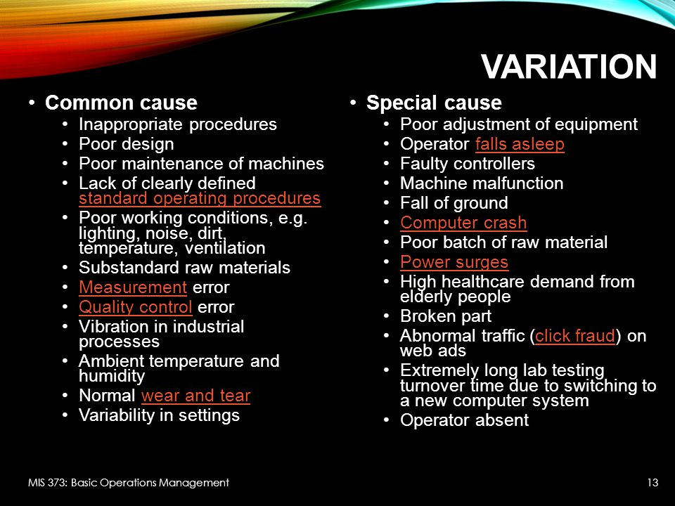 Variation Common cause Special cause Inappropriate procedures