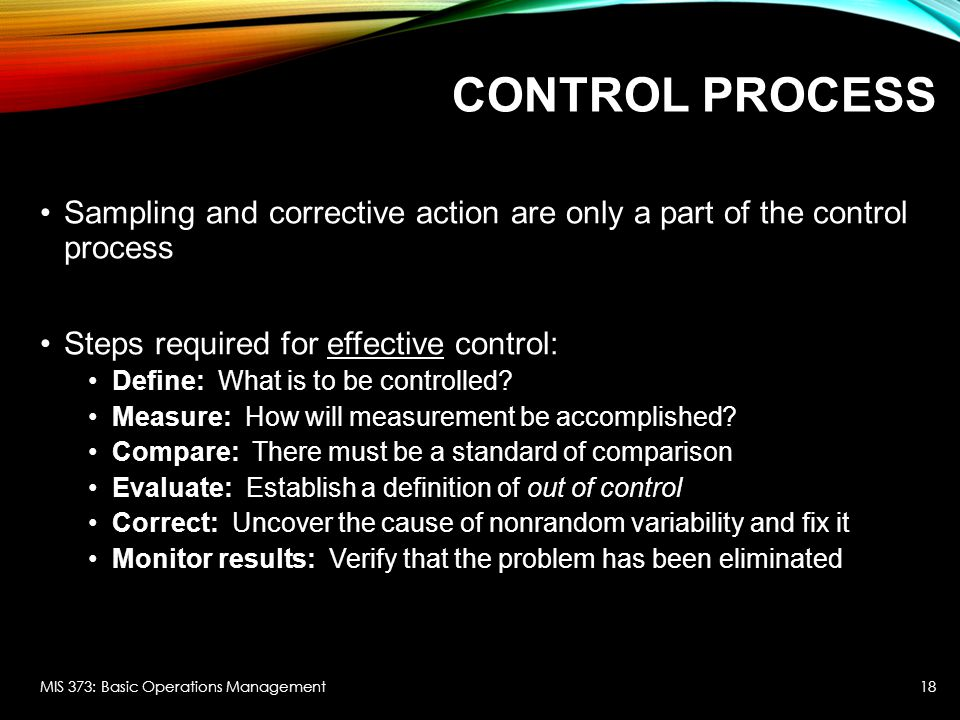 Control Process Sampling and corrective action are only a part of the control process. Steps required for effective control: