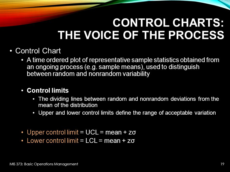 Control Charts: The Voice of the Process