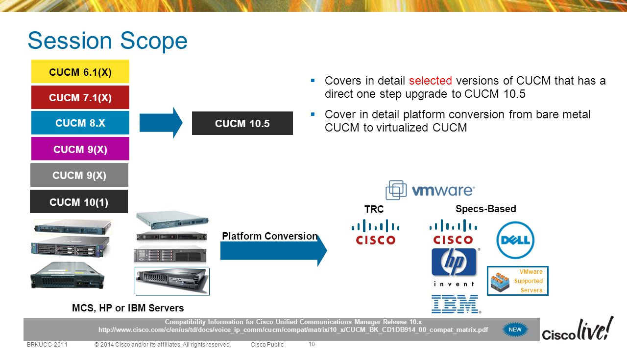 Session Scope CUCM 6.1(X) Covers in detail selected versions of CUCM that has a direct one step upgrade to CUCM 10.5.