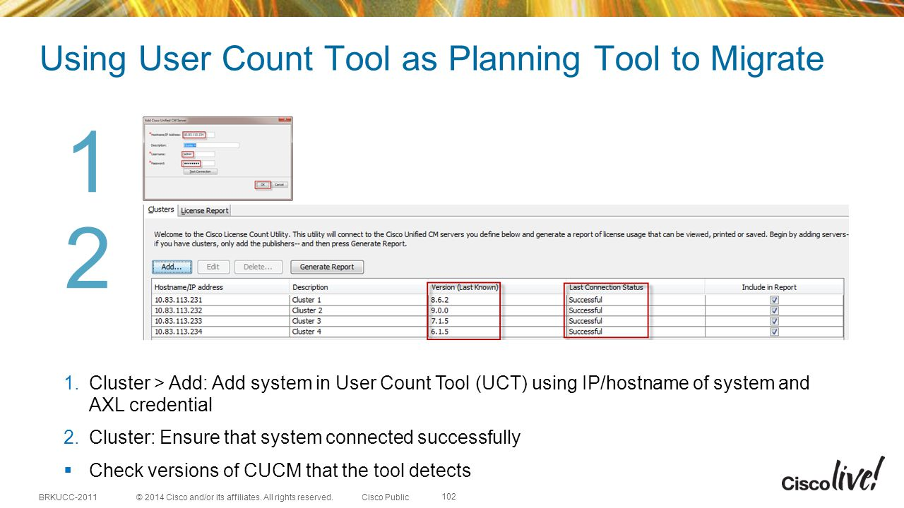 Using User Count Tool as Planning Tool to Migrate
