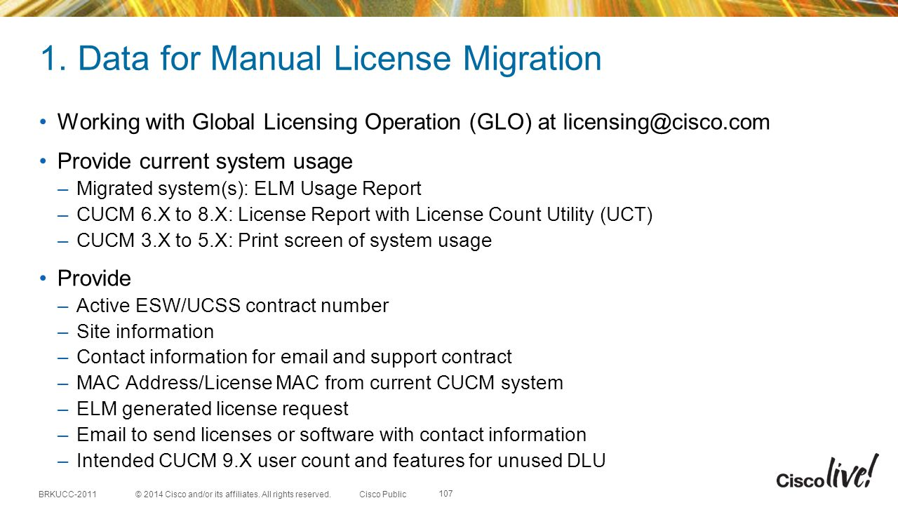 1. Data for Manual License Migration