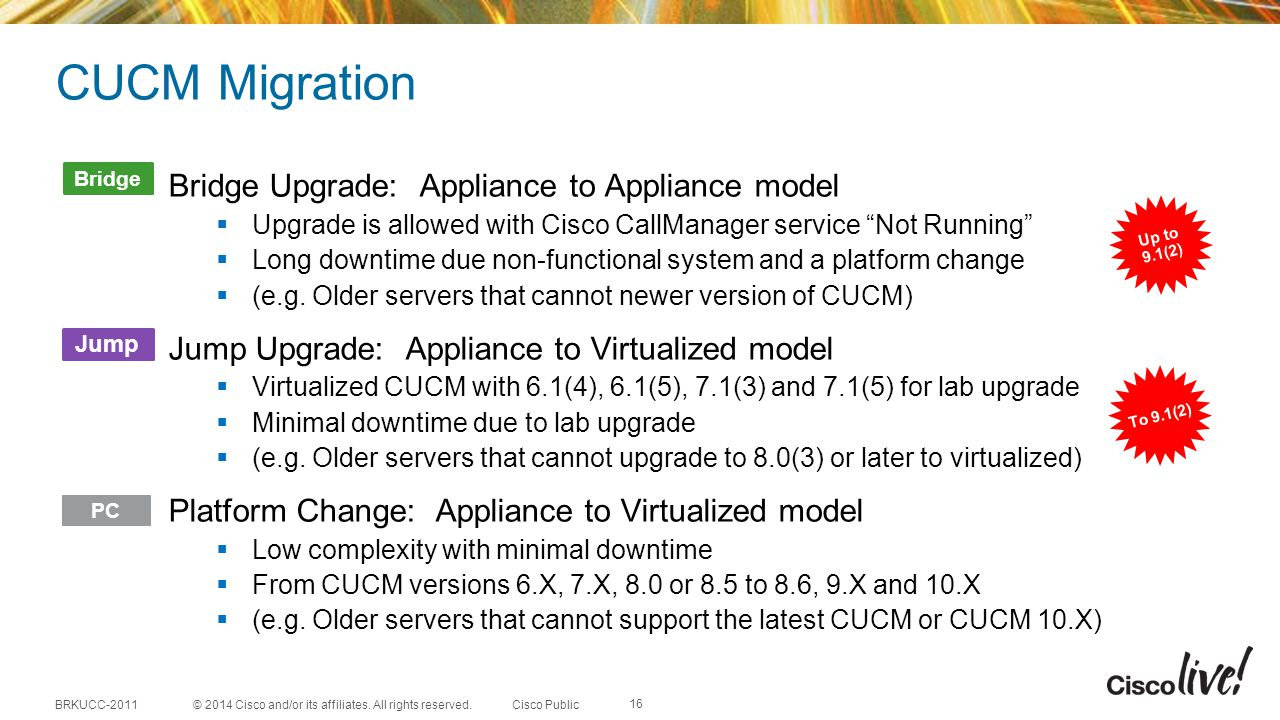 CUCM Migration Bridge Upgrade: Appliance to Appliance model