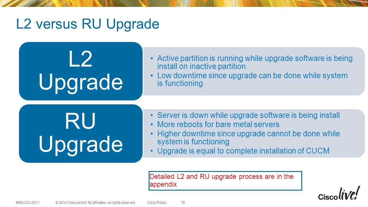 L2 Upgrade RU Upgrade L2 versus RU Upgrade