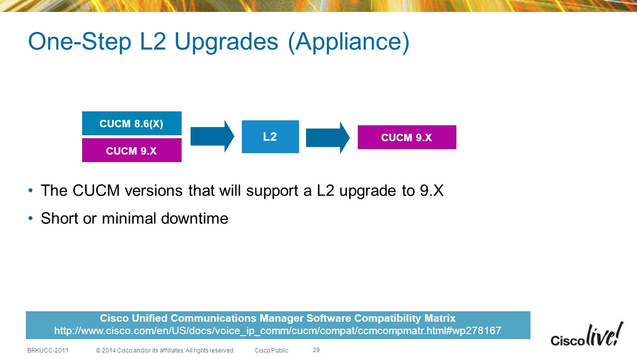 One-Step L2 Upgrades (Appliance)