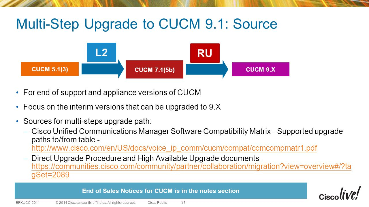 Multi-Step Upgrade to CUCM 9.1: Source