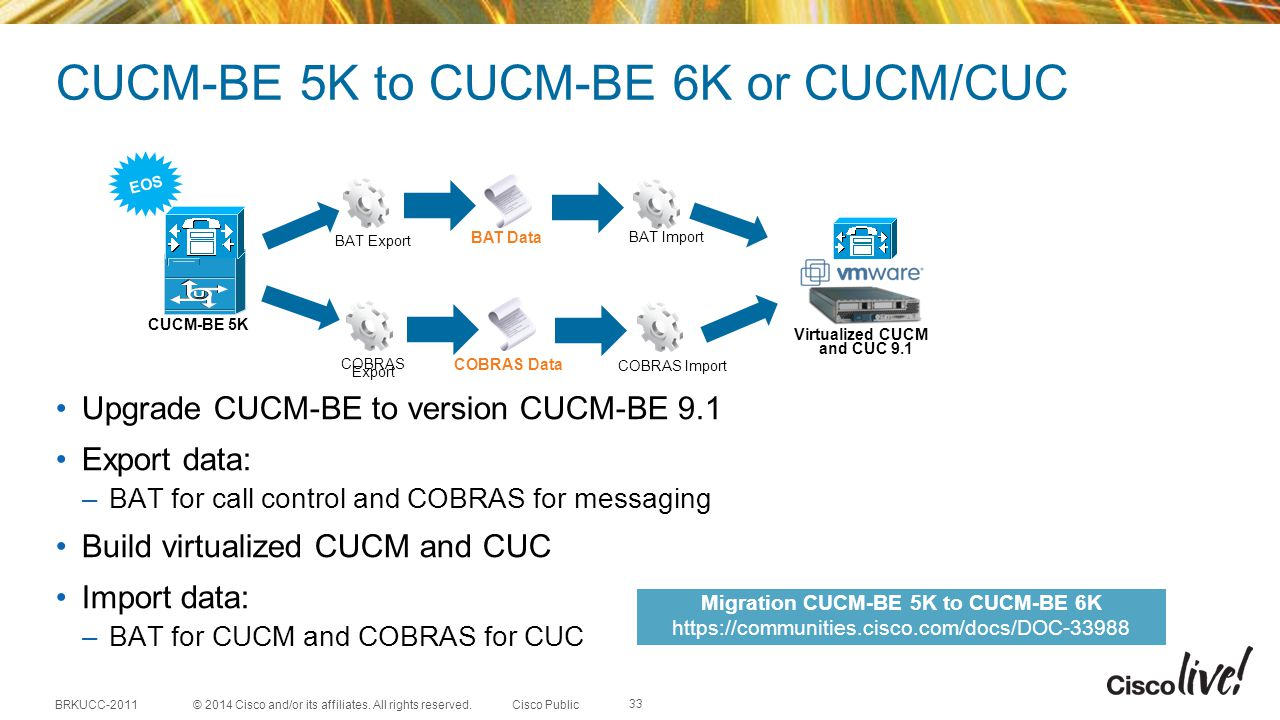 CUCM-BE 5K to CUCM-BE 6K or CUCM/CUC