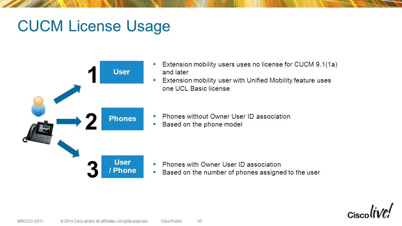 1 2 3 CUCM License Usage User Phones User / Phone
