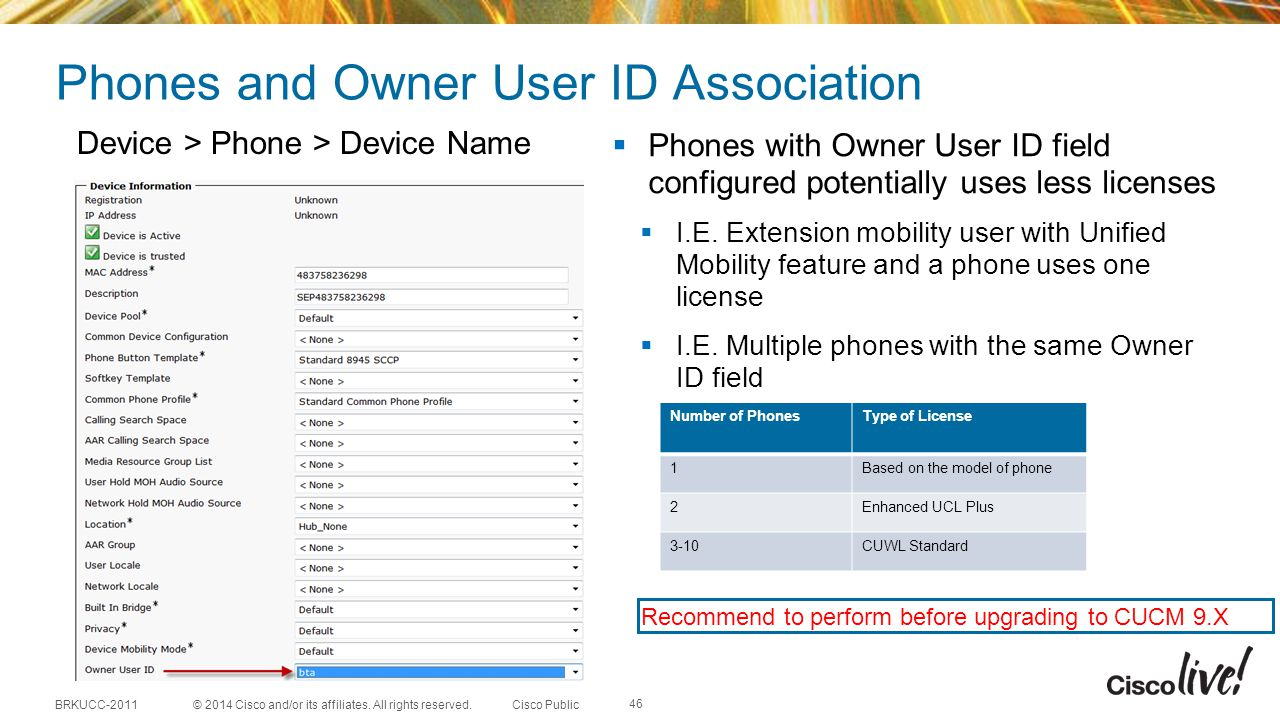 Phones and Owner User ID Association