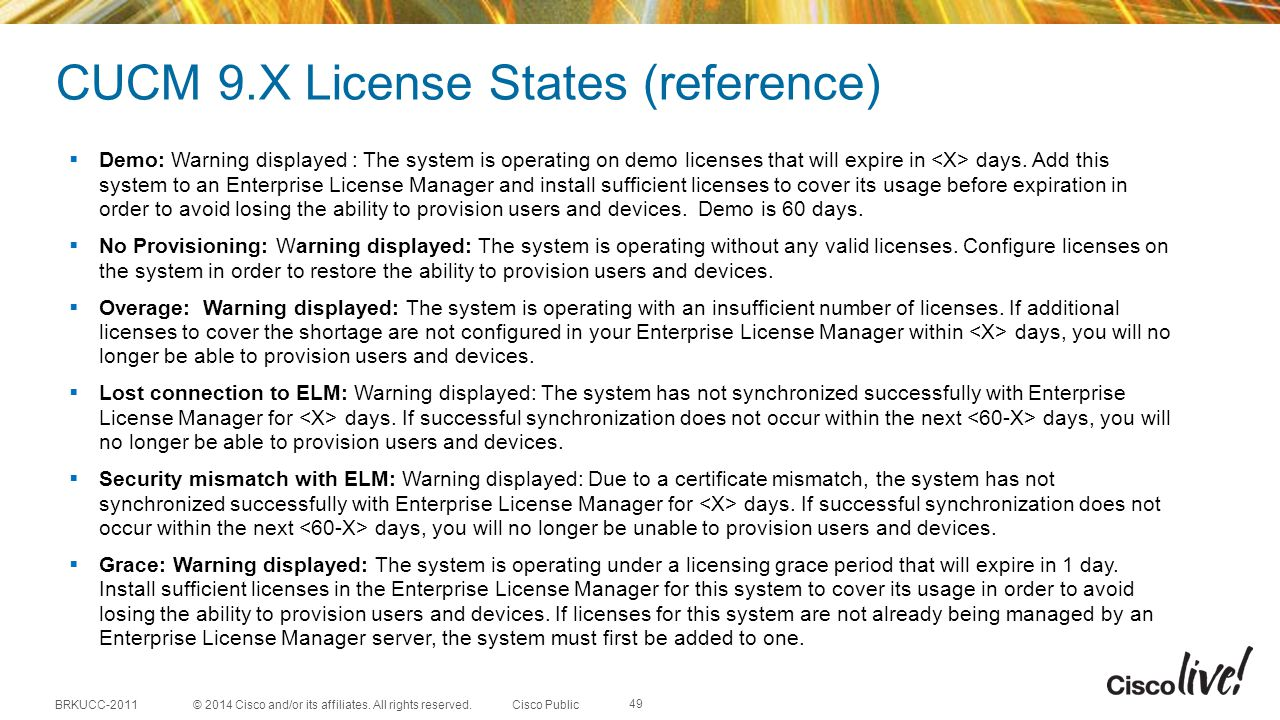 CUCM 9.X License States (reference)
