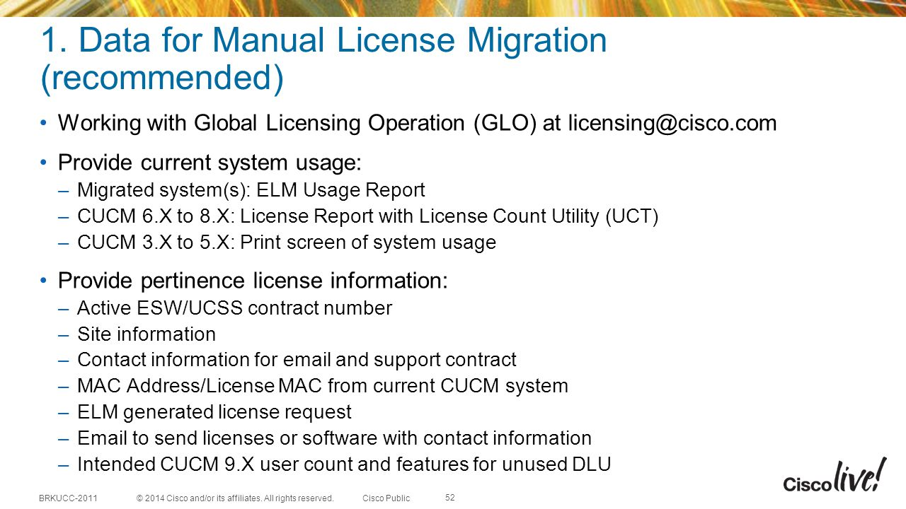 1. Data for Manual License Migration (recommended)