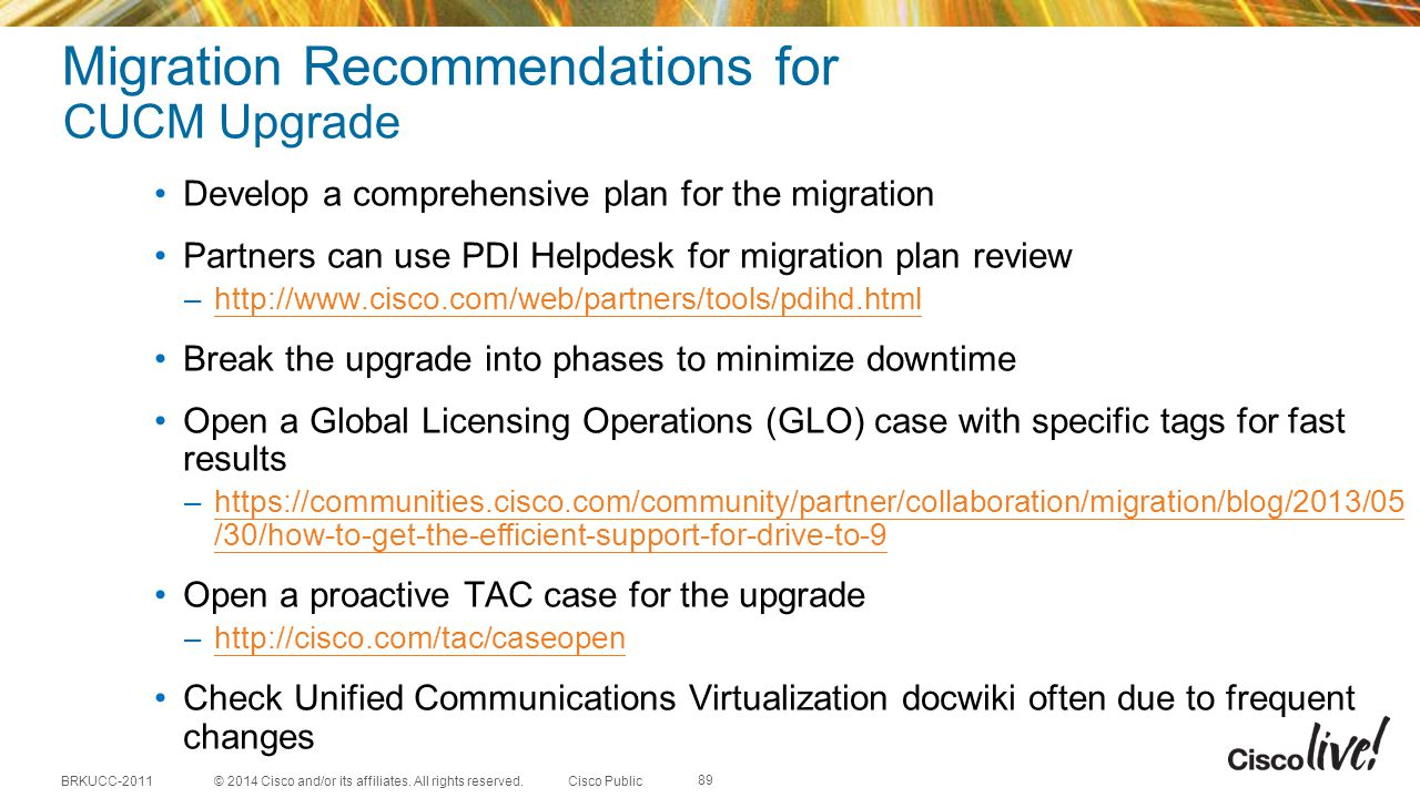 Migration Recommendations for CUCM Upgrade